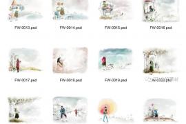 [相册模版]-96款PSD女孩与花纹源文件-免费下载