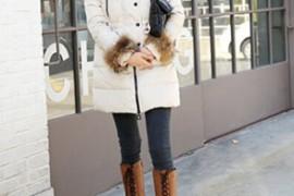 冬季时尚保暖穿搭 长款羽绒服搭配长靴